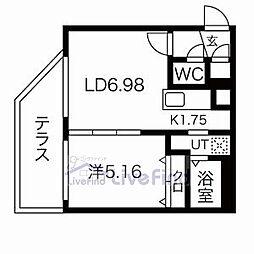 札幌市営東豊線 月寒中央駅 徒歩4分の賃貸マンション 1階1LDKの間取り
