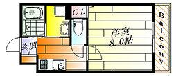クレシタ吹田 1階1Kの間取り