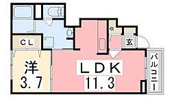 兵庫県姫路市飾磨区矢倉町1の賃貸アパートの間取り