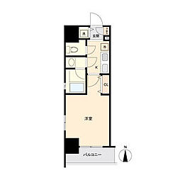 ブランシエスタ東別院 8階1Kの間取り