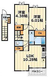 神奈川県大和市深見東2丁目の賃貸アパートの間取り