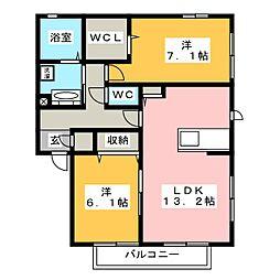 愛知県豊橋市弥生町字松原の賃貸アパートの間取り