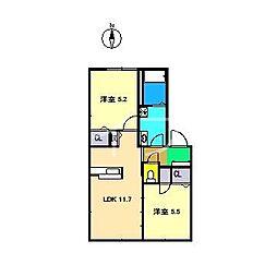 ラ・ベルターナIII C棟[1階]の間取り