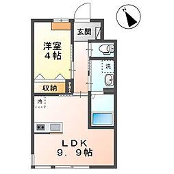 袖ケ浦市奈良輪2350番地新築アパート 2階1LDKの間取り