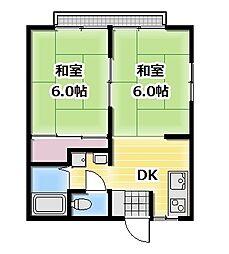山田ハイツ B[203号室]の間取り