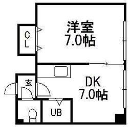 北海道札幌市豊平区美園四条7丁目の賃貸マンションの間取り