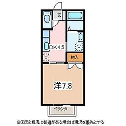 長野県松本市井川城2丁目の賃貸アパートの間取り