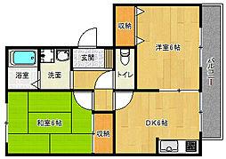 京都府京都市西京区桂上野西町の賃貸アパートの間取り