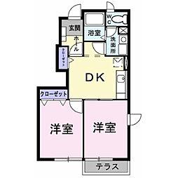 静岡県三島市中の賃貸アパートの間取り