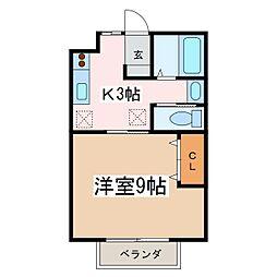 JR篠ノ井線 村井駅 徒歩20分の賃貸アパート 1階1Kの間取り