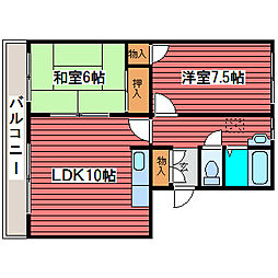 グリーンハイム嵯峨[2階]の間取り