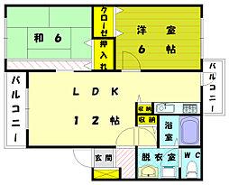 メゾンドゥコスモス3番館[2階]の間取り