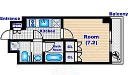 パークハビオ渋谷 12階ワンルームの間取り