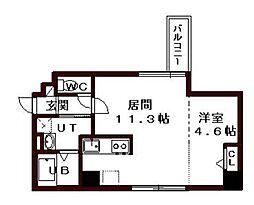 札幌市営東西線 バスセンター前駅 徒歩5分の賃貸マンション 8階1LDKの間取り
