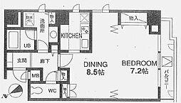 白金アネックス 7階ワンルームの間取り