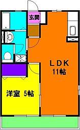 静岡県磐田市見付元宮町の賃貸アパートの間取り