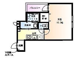 フジパレス中宮2番館 3階1Kの間取り
