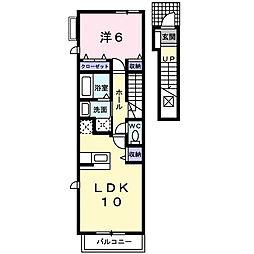 東京都八王子市西片倉1丁目の賃貸アパートの間取り