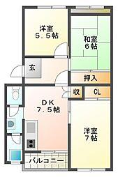 星陵台住宅1号棟[4階]の間取り