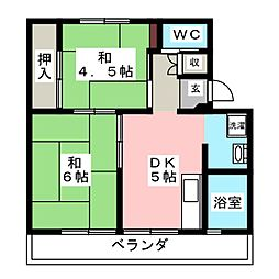 ビレッジハウス揖斐川1号棟[5階]の間取り