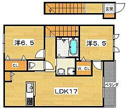 交野市シャーメゾンタイガーA棟[2階]の間取り