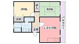 ハイカムール若草[1階]の間取り