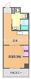 JR宇野線 大元駅 徒歩8分の賃貸マンション 3階1DKの間取り