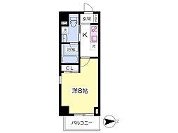 都営大江戸線 赤羽橋駅 徒歩4分の賃貸マンション 2階1Kの間取り