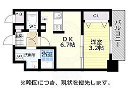 神戸市西神・山手線 新長田駅 徒歩2分の賃貸マンション 10階1DKの間取り