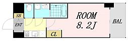 S-RESIDENCE阿波座WEST 11階1Kの間取り