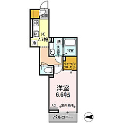 JR中央線 国立駅 徒歩11分の賃貸アパート 2階1Kの間取り