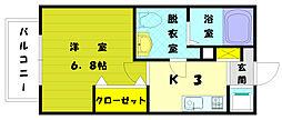 福岡県古賀市日吉1丁目の賃貸アパートの間取り