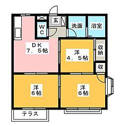 ハイツクラウンA・B[1階]の間取り