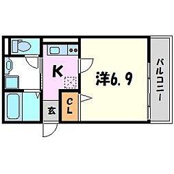 兵庫県尼崎市南武庫之荘2丁目の賃貸マンションの間取り