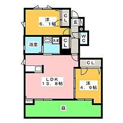 シュロスクラヴィエ A棟[1階]の間取り