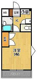ハイツ浜田[203号室]の間取り