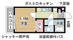 兵庫県神戸市中央区野崎通7丁目の賃貸マンションの間取り