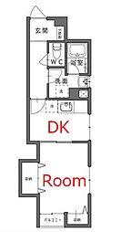 京急本線 戸部駅 徒歩3分の賃貸マンション 3階1DKの間取り