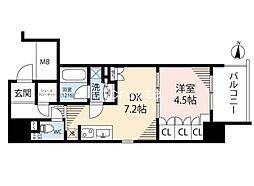 ザ・パークハビオ堂島 11階1DKの間取り