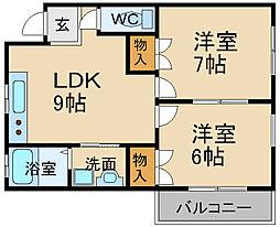 兵庫県宝塚市平井二丁目の賃貸アパートの間取り