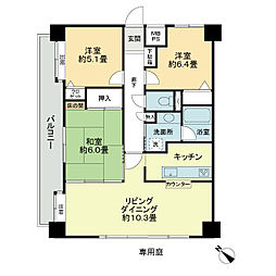 ライオンズマンション東川口AKAO[1階]の間取り