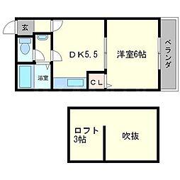 シャルレ5番館 2階1DKの間取り