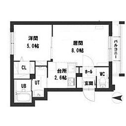札幌市営東西線 西11丁目駅 徒歩8分の賃貸マンション 3階1LDKの間取り