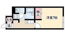愛知県名古屋市瑞穂区弥富町月見ケ岡の賃貸アパートの間取り