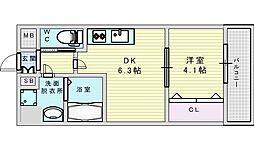 Osaka Metro御堂筋線 江坂駅 徒歩13分の賃貸マンション 6階1DKの間取り