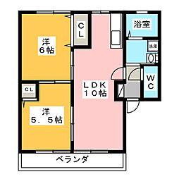 サンピアレA[2階]の間取り