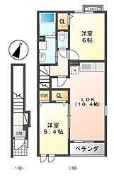 パルタージA・B[2階]の間取り