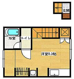 ポルトボヌール府中弐番館 2階ワンルームの間取り