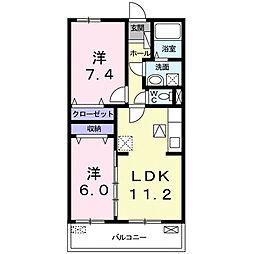 上鈎マンション 1階2LDKの間取り