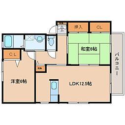 奈良県香芝市下田西3丁目の賃貸アパートの間取り